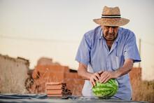 Elderly Male Farmer In Straw H...