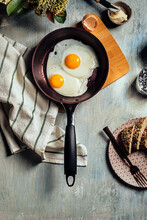 Fried Egg. View Of Two Fried E...