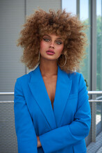 Charming Female Model In Blue ...