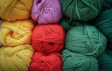Colorful Woolen Balls Of Yarn....