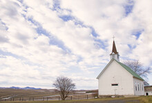Original Landscape Photograph Of A Little White Country Church Under A Big Cloudy Sky