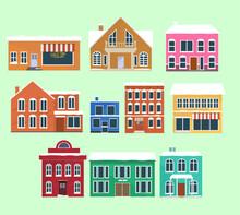 Set Of Winter Houses, Cartoon Style. Vector