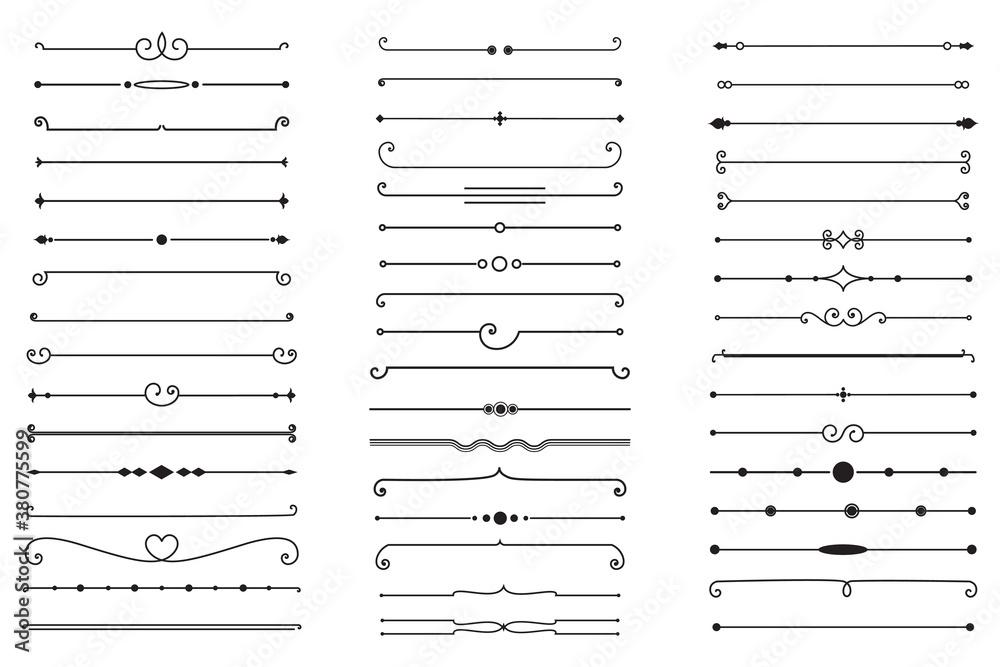 Fototapeta Big Set of Decorative Text Dividers. Stock Vector