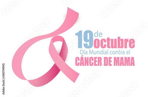 19 October Breast Cancer World day in Spanish Fototapet