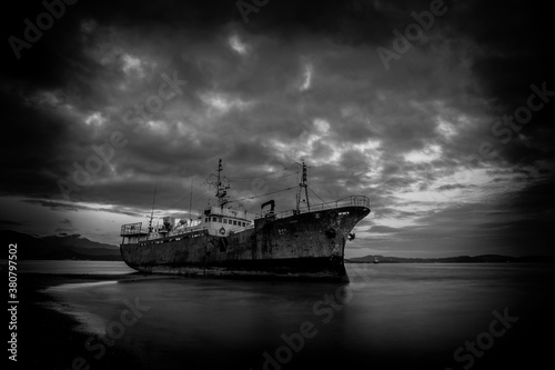 Ship on the shallows Canvas Print