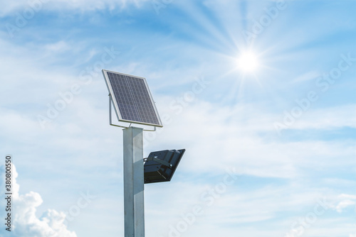Tela Small size solar plant, outdoor lighting pole with small solar panel power by th