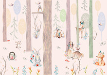Childrens Wallpaper, Watercolo...