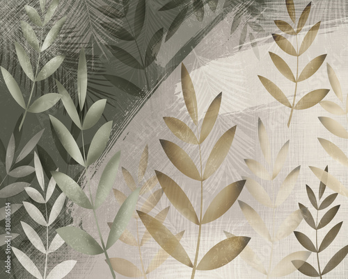 Obrazy beżowe  leaves-and-palm-leaves-green-and-beige-background