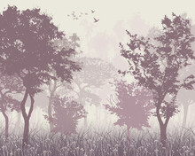 Pink Forest, Birds In The Sky