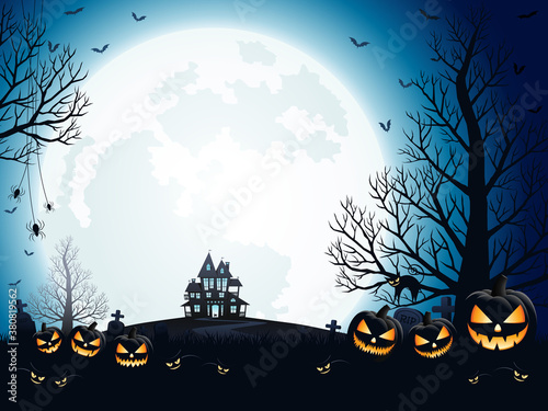 Halloween pumpkins, spooky trees and haunted house with moonlight on blue background Wallpaper Mural