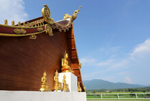 Meditation Buddha Statue On Si Mongkol Temple (Wat Kong), Lanna Architecture , Northern Style Of Thailand, Nan Province, Thailand