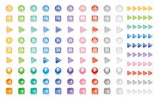 透明感のあるカラフルなきらめく矢印ボタンアイコン素材/白背景