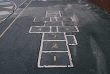 Learn Numbers And Hop-scotch Painted On Concrete On Playground