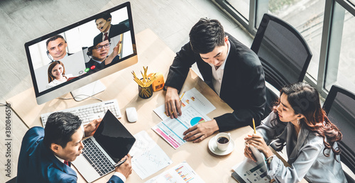 Fotografie, Obraz Video call group business people meeting on virtual workplace or remote office
