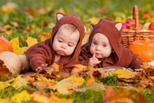 Babies Twins In Jackets With E...