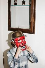 Boy Wearing A Scary Mask