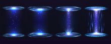 Futuristic Portal Circle, Hologram. Set Of Digital Elements Virtual Interface Hug Gui Graphic Motion With Blue Rays Light.