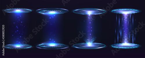 Obraz Futuristic portal circle, hologram. Set of digital elements virtual interface Hug Gui graphic motion with blue rays light. - fototapety do salonu