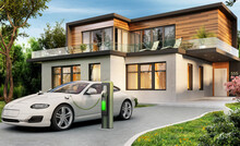 Modern Home And Electric Car