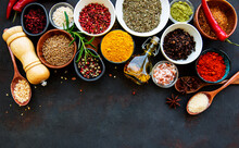 Assortment Of Spices On Black