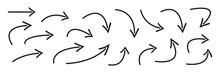 Hand Drawn Curved Arrows . Ske...