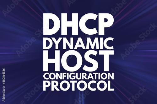 Photo DHCP - Dynamic Host Configuration Protocol acronym, technology concept backgroun