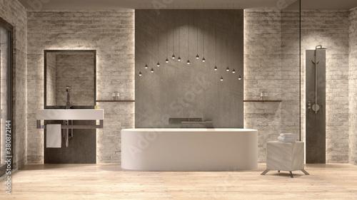 Photo Luxuriöses modernes Badezimmer mit freistehender Badewanne