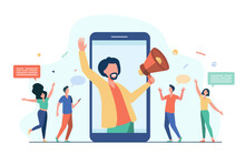 Influencer Marketing Concept. Male Blogger With Megaphone Sharing Information With Audience On Social Media Websites. Vector Illustration For Digital Marketing, Promotion, Communication Topics