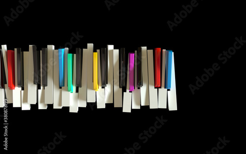 Fotografie, Obraz Broken piano keyboard as a symbol of expressive music and jazz.
