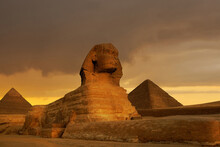Sunset At The Spinx And Pyramids, Giza, Egypt.