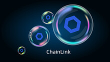 ChainLink LINK Token Symbol In Soap Bubble, Coin DeFi Project Decentralized Finance. The Financial Pyramid Will Burst Soon And Destroyed. Vector EPS10.