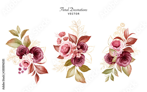 Set of gold watercolor floral arrangements of burgundy and peach roses and leaves Fototapet