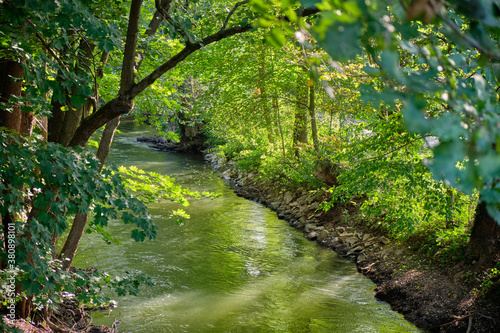 Fotografija Beautiful idyllic landscape with lush foliage of the trees illuminated by the sunlight  around a sidearm of the river Pegnitz in Nuremberg, Germany in September