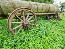 Old Rural Wooden Cart With Wat...