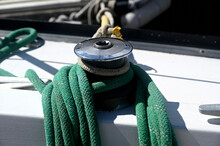 Sailing Rope On The Yacht's Ca...
