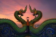 Head Of Naga Snake In Wat Khao...