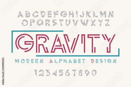Modern display font design, alphabet, character set, typography Canvas