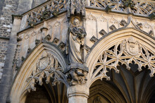 Detail Of Old Historical Building Made In New Gothic Revival Architecture Style. Pointed Gothic Arch, Statue, Sculpture And Decoration. Cathedral Of Saint Peter And Paul, Petrov, Brno.