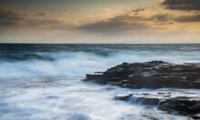 Rocky Seashore With Wavy Ocean...