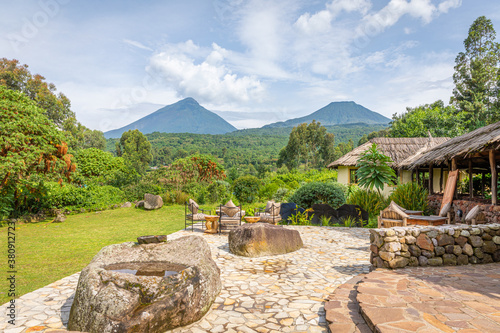 Fototapeta View of mount Sabyinyo and mount Gahinga, two of the volcanoes in the Volcanoes National Park in Rwanda
