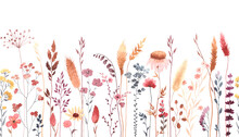 Watercolor Floral Seamless Pattern With Colorful Wildflowers, Plants And Grass. Panoramic Horizontal Border, Isolated Illustration. Meadow In Vintage Style.