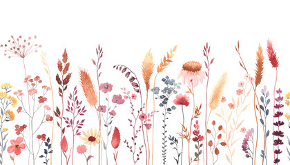 Panel Szklany Popularne Watercolor floral seamless pattern with colorful wildflowers, plants and grass. Panoramic horizontal border, isolated illustration. Meadow in vintage style.