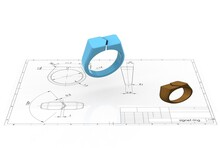 3D Illustration Of Signet Ring Above Engineering Drawing