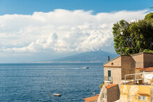 Sorrento, Italy. View On The Sea Of The Sorrento Peninsula Seen From Sorrento With Mount Vesuvius And The Gulf Of Naples In The Distance.
