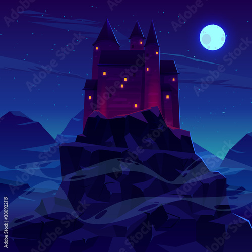 Cuadros en Lienzo Ancient castle or fortress in mountains vector