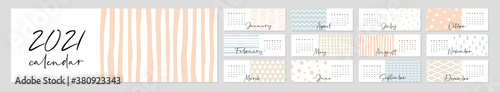 Obraz Calendar 2021. Yearly Planner with all Months. - fototapety do salonu