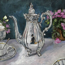 Silver Teapot And An Antique White Porcelain Cup Of Tea. Original Oil Painting. Square Picture On Canvas.