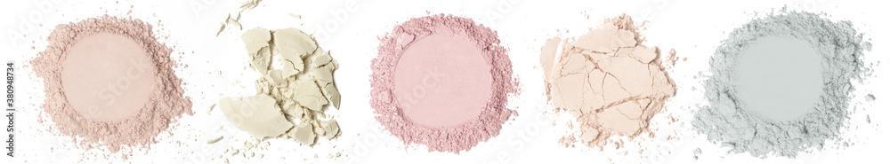 Fototapeta Set of cosmetic or make up powder samples isolated on white.