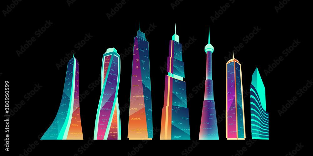 Fototapeta Futuristic city buildings with neon glowing set.