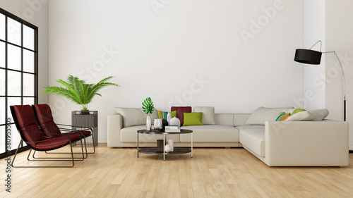Large luxury modern minimal bright interiors room mockup illustration 3D rendering